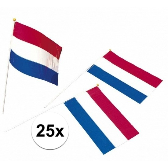 25x Nederlandse zwaaivlaggetjes Multi