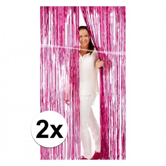 2x Foliegordijn roze versiering Roze