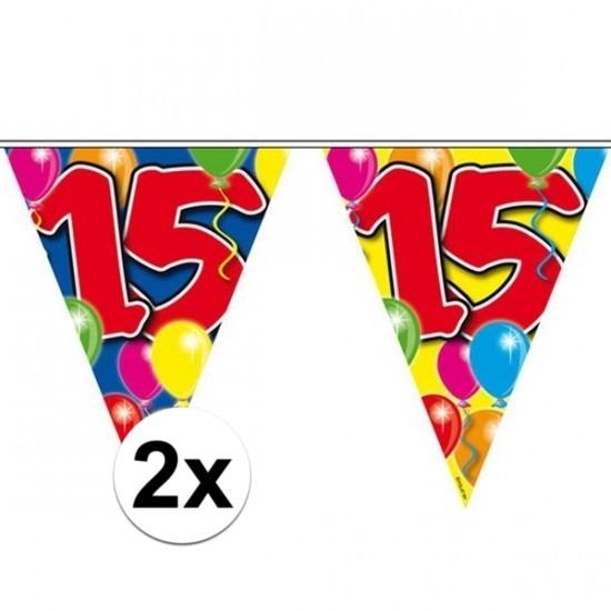 2x Vlaggenlijn 15 jaar 10 meter Multi