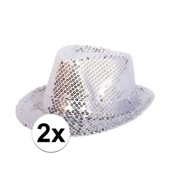 2x Zilveren glitter hoedjes met pailletten Zilver