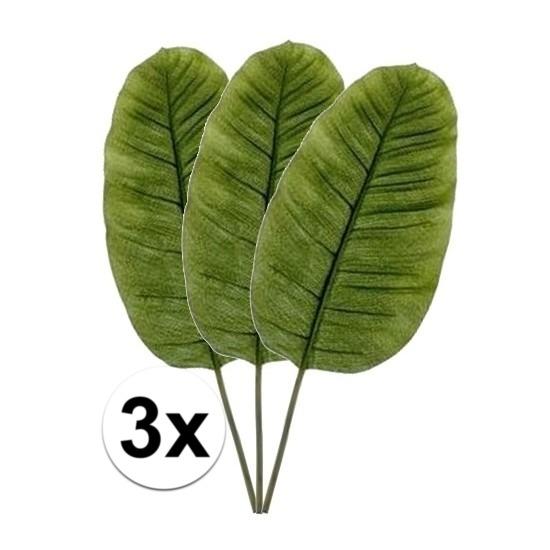 3 x Kunstbloemen tak groene bananen blad 92 cm Groen