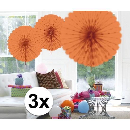 3x Honeycomb waaiers zalm roze 45 cm Roze