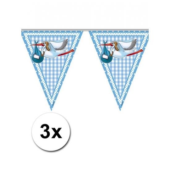 3x Jongen geboren vlaggetjes 6m per stuk Blauw