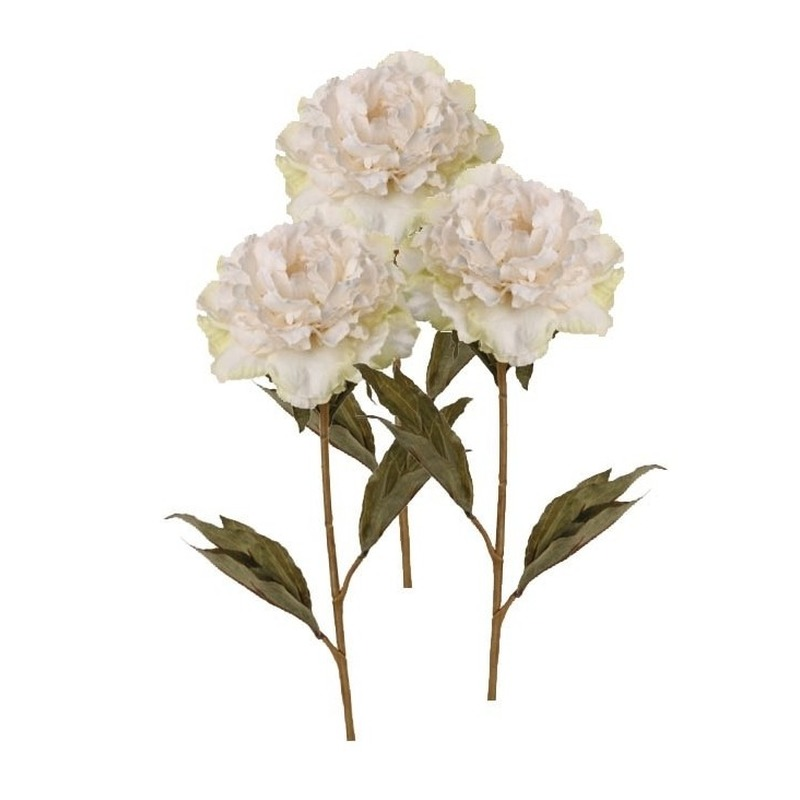 3x Kunstbloemen witte pioenroos 67 cm
