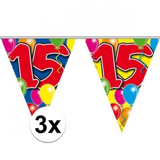 3x Vlaggenlijn 15 jaar 10 meter Multi