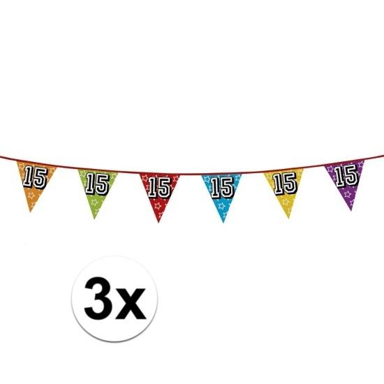 3x Vlaggenlijn 15 jaar feestje Multi