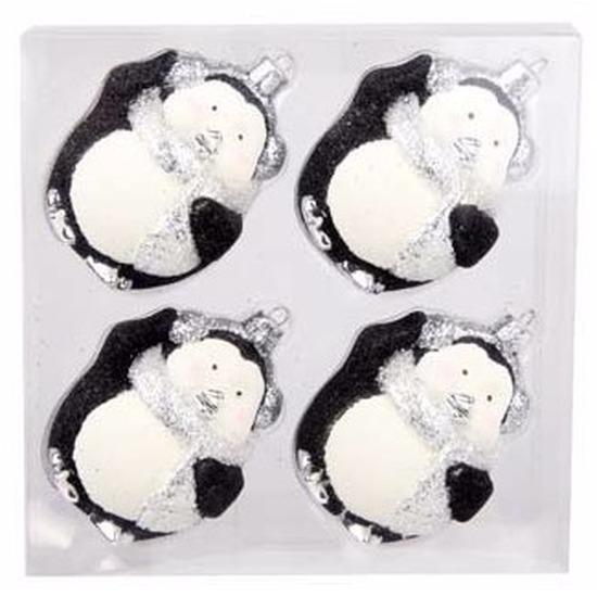 4-delige pinguin kerstballen set zwart/wit