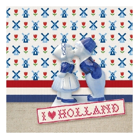 40x stuks servetten I Love Holland print 3-laags Multi