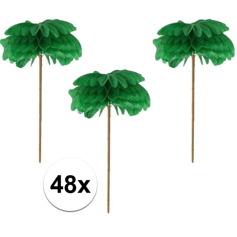 48x Palmbomen cocktailprikkers Groen