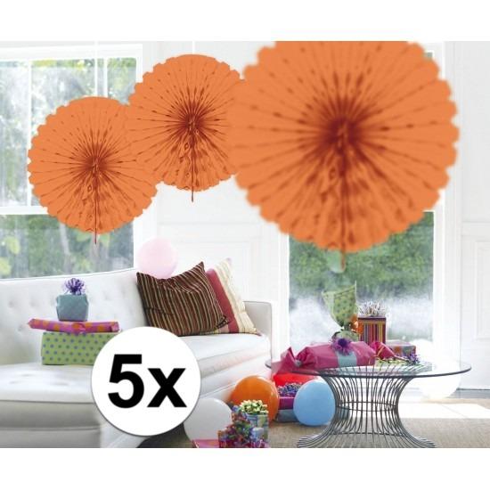 5x Honeycomb waaiers zalm roze 45 cm Roze