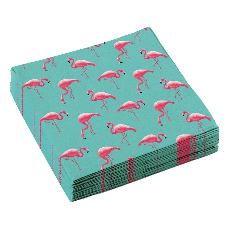 60x Flamingo feest servetten 33cm Multi
