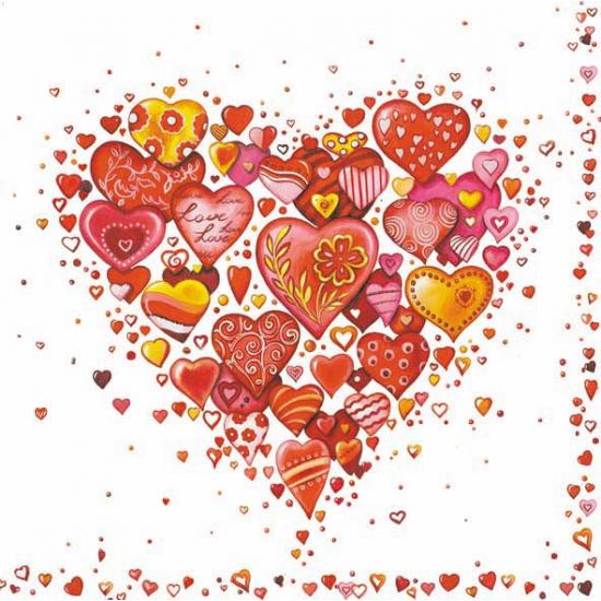60x stuks papieren servetten Bruiloft/Huwelijk/Liefde Multi