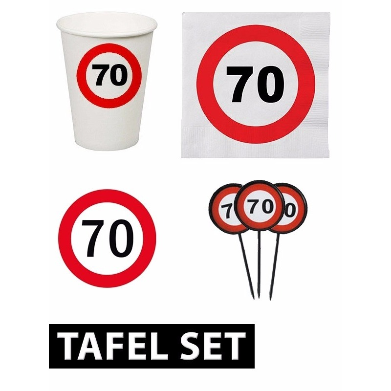 70 jaar verjaardag tafel versiering set stopbord Multi