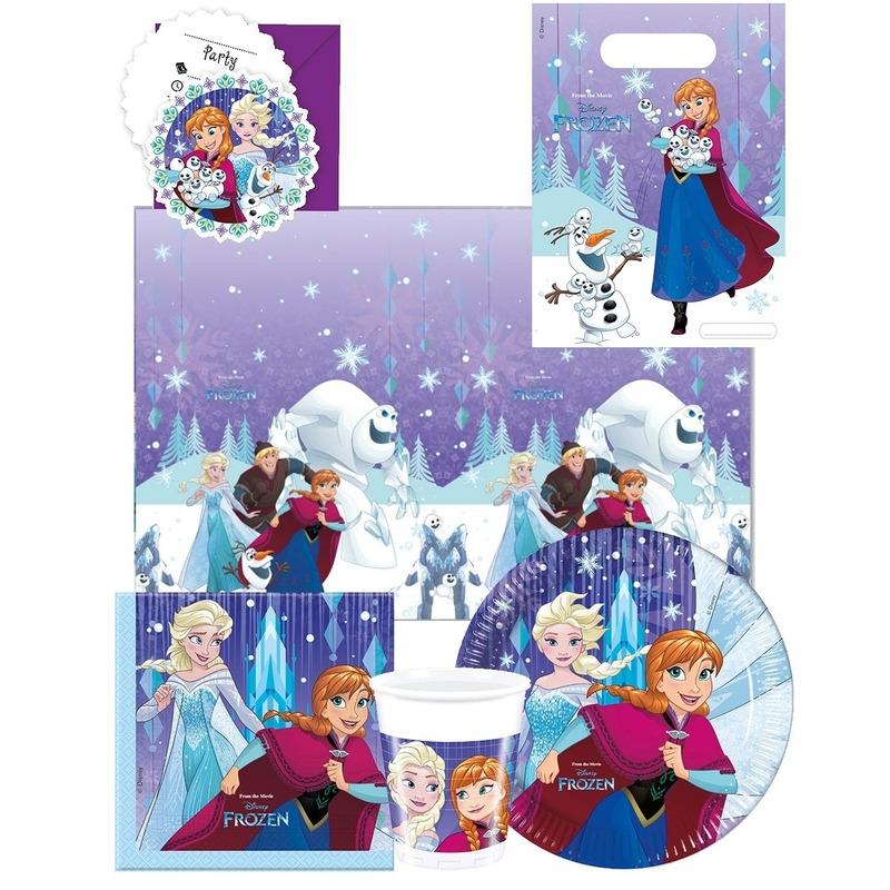 8x Frozen eetbordjes/gebaksbordjes blauw 23 cm Anna en Elsa kinderverjaardag Multi