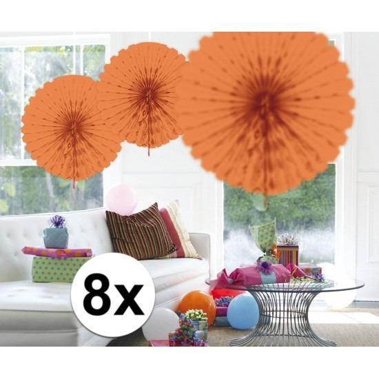 8x Honeycomb waaiers zalm roze 45 cm Roze