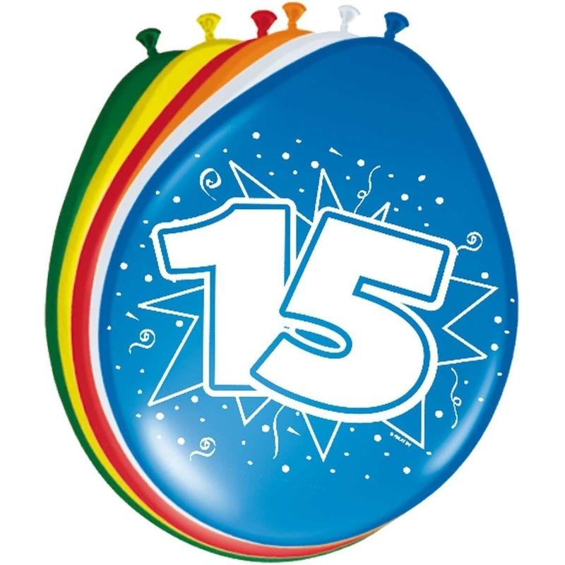 8x stuks Leeftijd ballonnen versiering 15 jaar 30 cm Multi