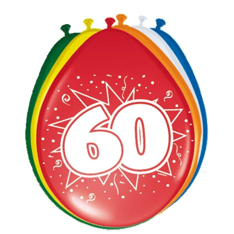 8x stuks Leeftijd ballonnen versiering 60 jaar 30 cm