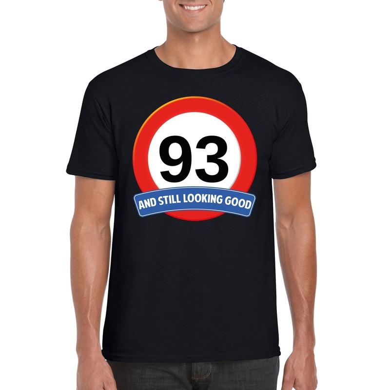 93 jaar verkeersbord t-shirt zwart heren