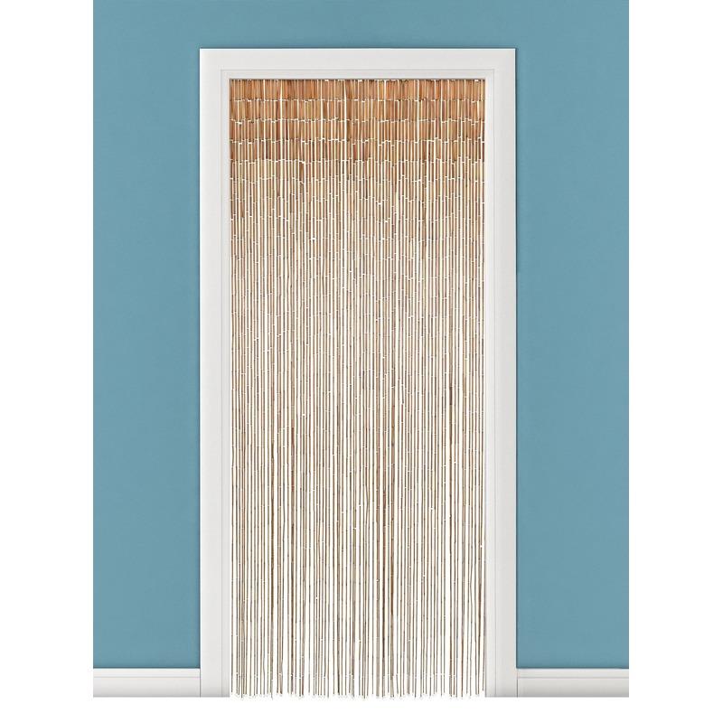 Bamboe deurgordijn naturel met houten stok 90 x 200 cm Beige