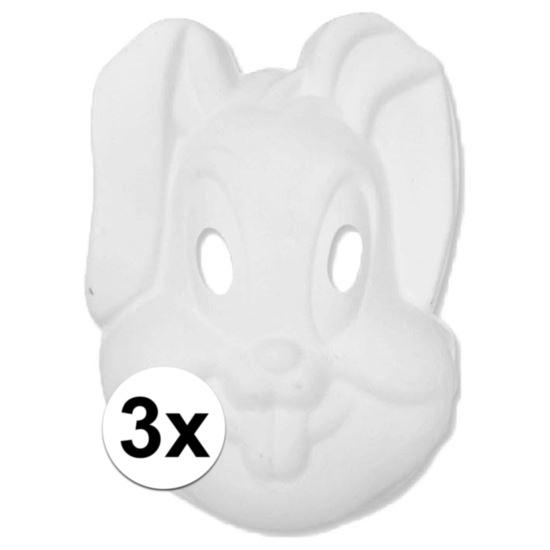 Basic wit konijnen/hazen masker 3 stuks Wit