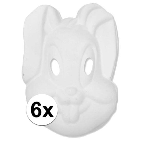 Basic wit konijnen/hazen masker 6 stuks Wit