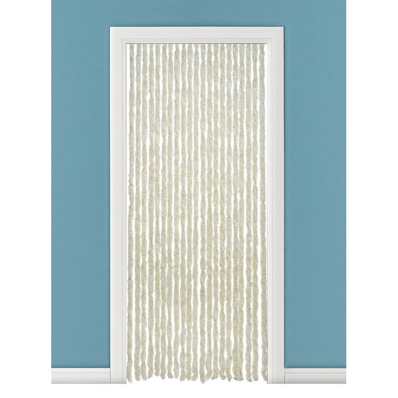 Beige/wit anti insecten kattenstaarten gordijn 93 x 230 cm