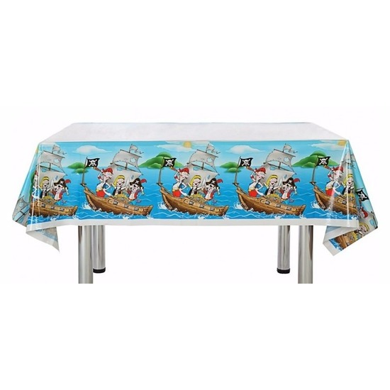 Blauw feest tafelkleed piraten thema 137 x 182 cm Multi