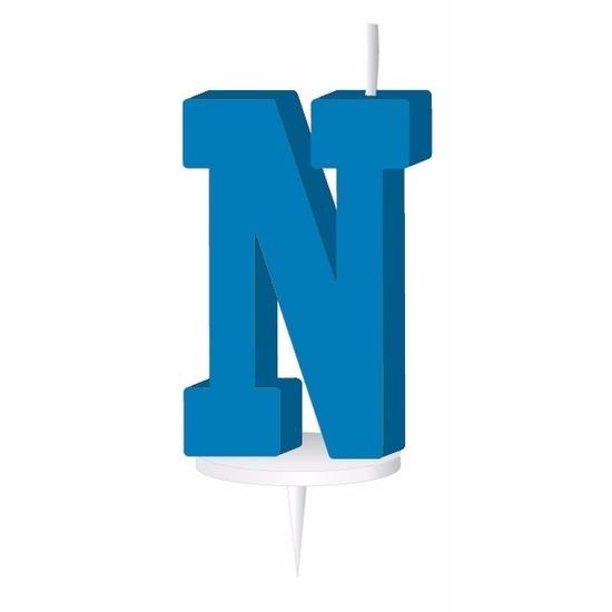 Blauw taart kaarsje letter N