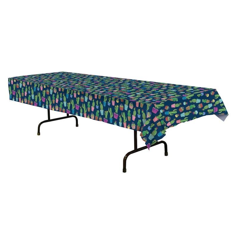 Blauw tafelkleed cactus print 137 x 274 cm Blauw