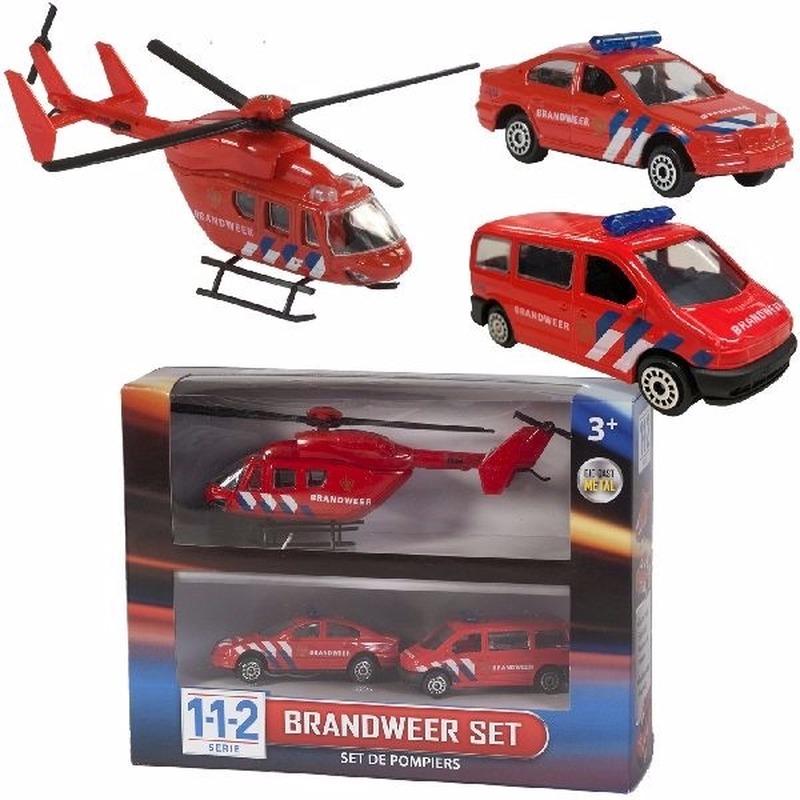 Brandweerwagens en helikopter speelset Rood