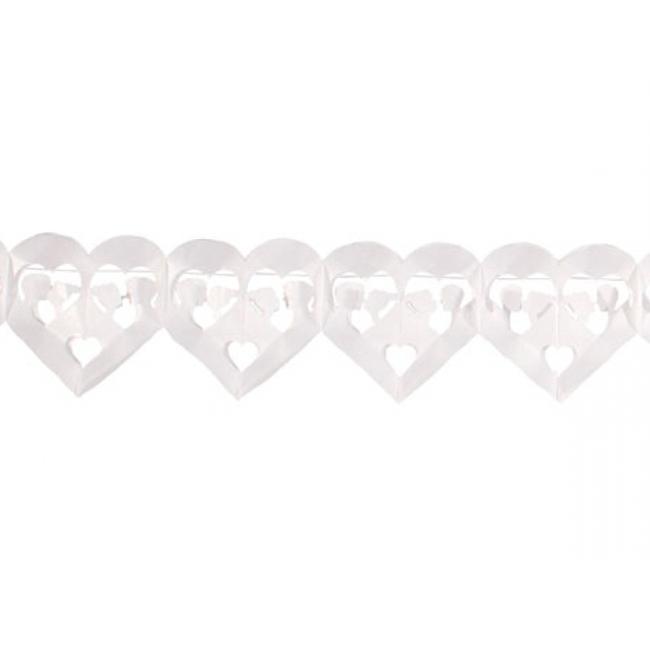 Bruiloft slinger hartjes wit 6 meter