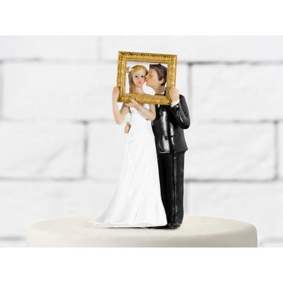 Bruiloft taart poppetjes met fotolijst Multi