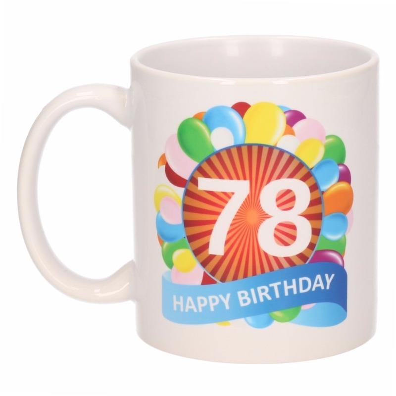Cadeau 78 jaar mok / beker ballon thema