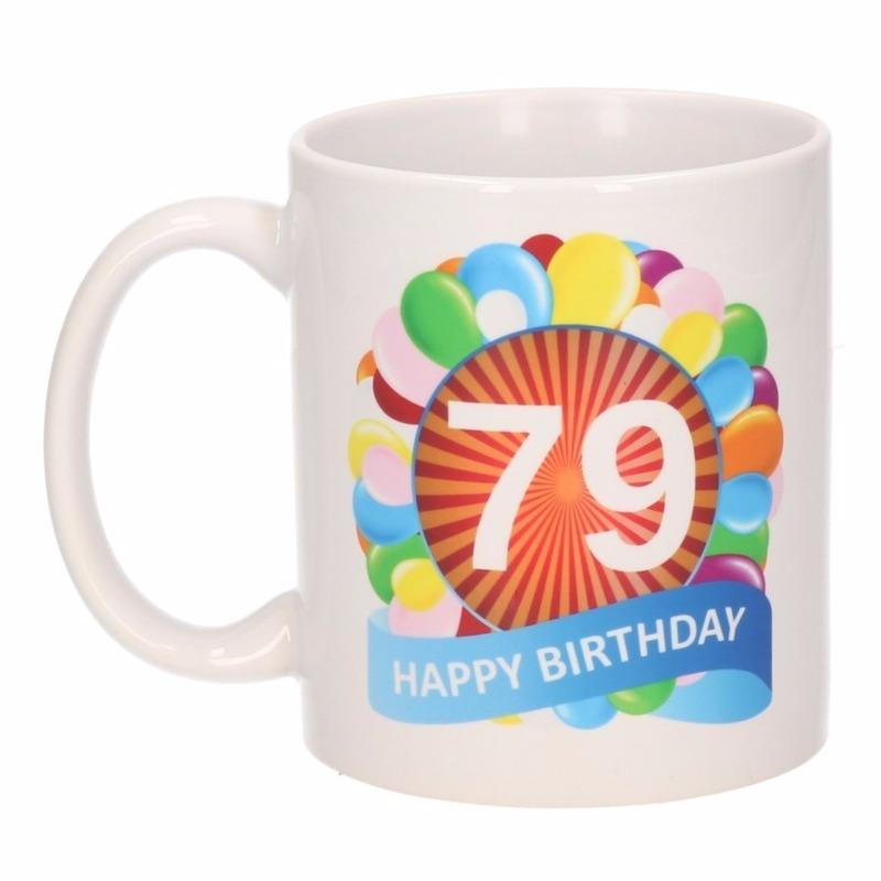 Cadeau 79 jaar mok / beker ballon thema