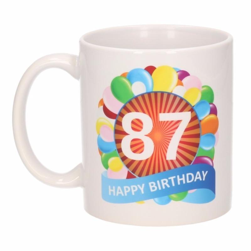Cadeau 87 jaar mok / beker ballon thema Multi