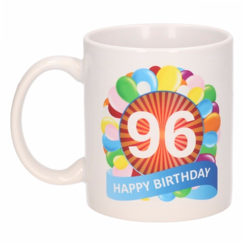 Cadeau 96 jaar mok / beker ballon thema