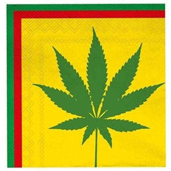 Cannabis plant thema servetten 20 stuks Multi