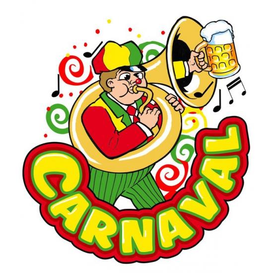 Carnaval raamsticker muzikant 35 x 40 cm Multi