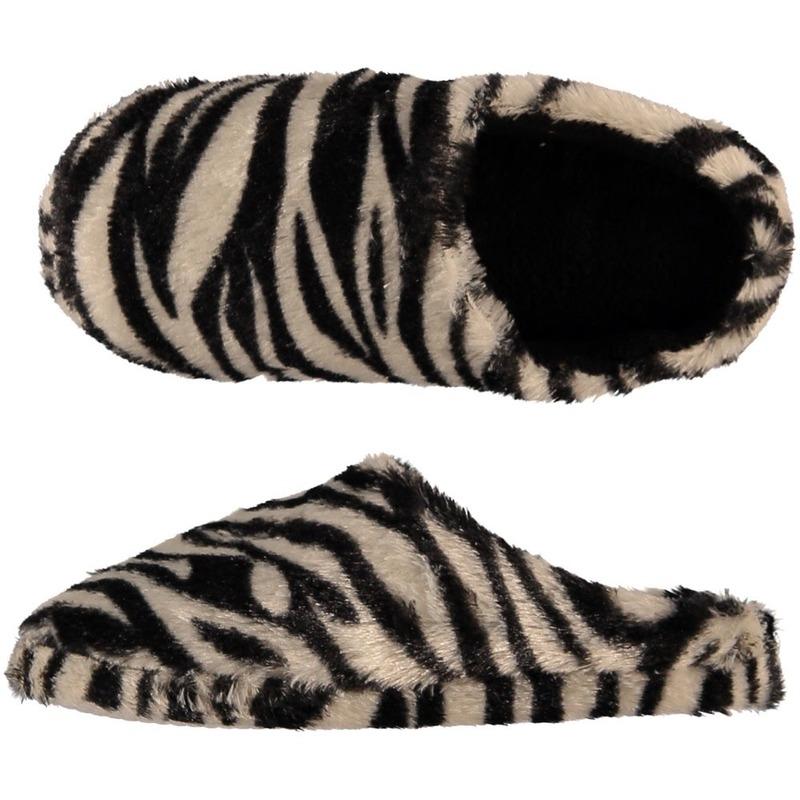 e1c2d54d63d Pluche instap sloffen/pantoffels dierenprint zebra voor dames maat 41-42