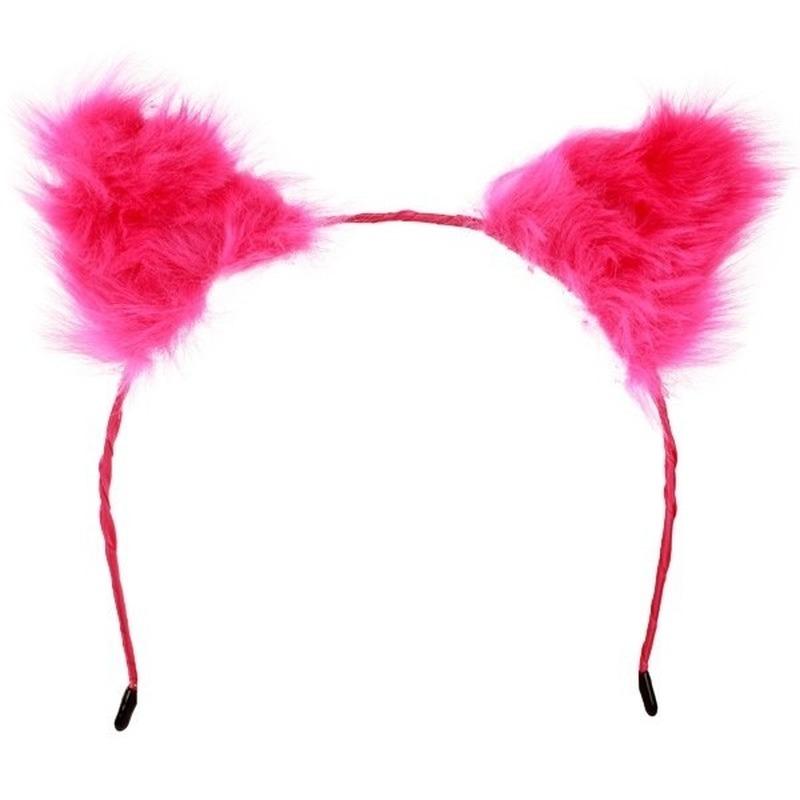Diadeem met pluche roze oren Roze