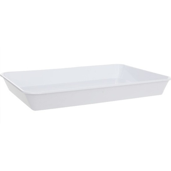 Diep dienblad wit kunststof 35 x 24 cm Wit