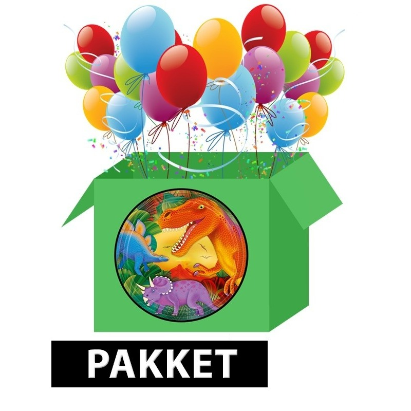 Dinosaurus/ dino versiering pakket voor kinderfeestje Multi