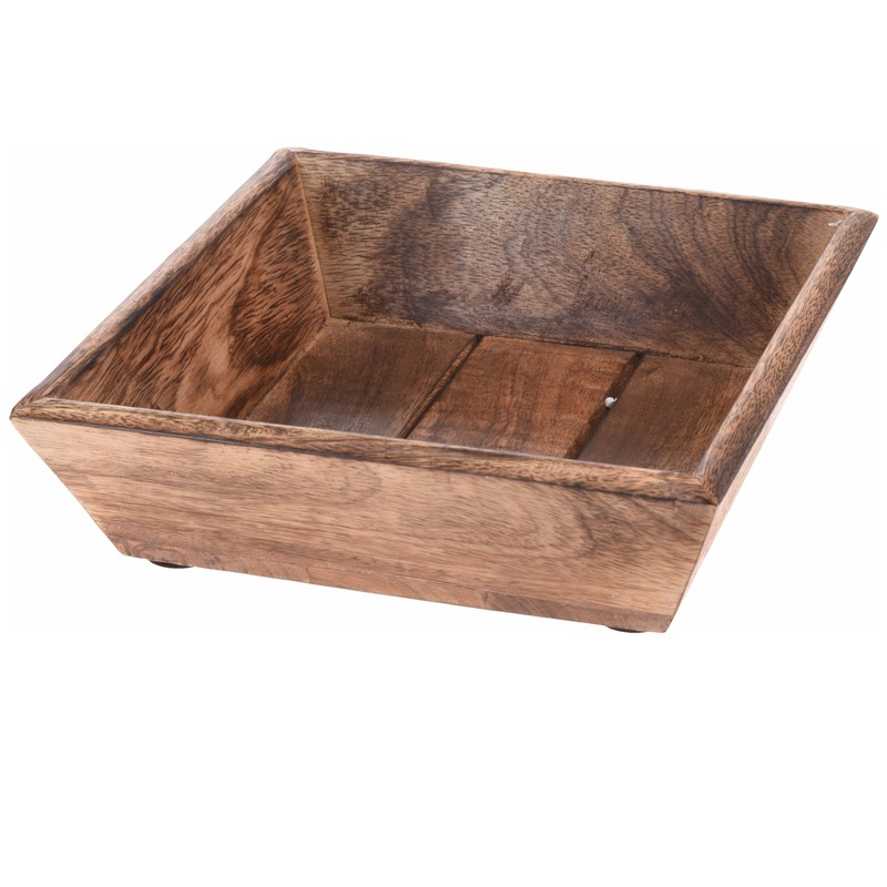 Geen Donker houten dienblad vierkant 20 x 20 x 6 cm Bruin