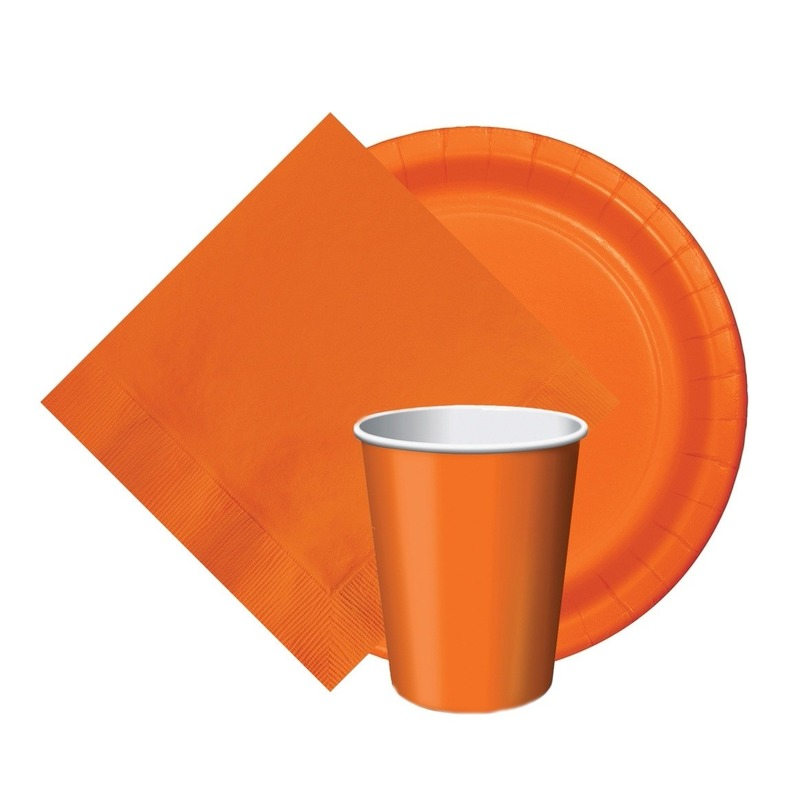 Feest decoratie pakket oranje 8 bekertjes/8 bordjes/20 servetjes Oranje