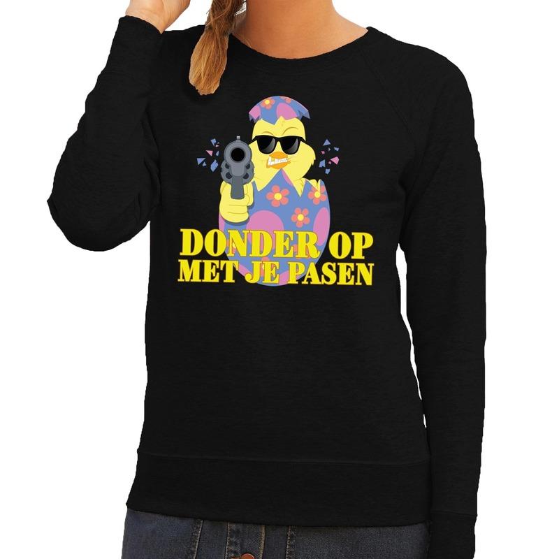 Fout Pasen sweater zwart donder op met je Pasen voor dames XS Zwart