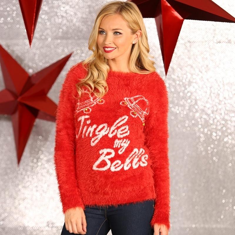 Foute Kersttrui Xl.Maffe Truien Nl Foute Dames Kersttrui Jingle My Bells Xl Rood