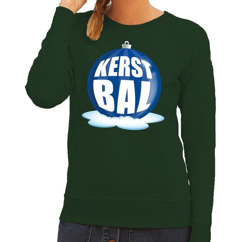 Foute feest kerst sweater met blauwe kerstbal op groene sweater voor dames M (38) Groen