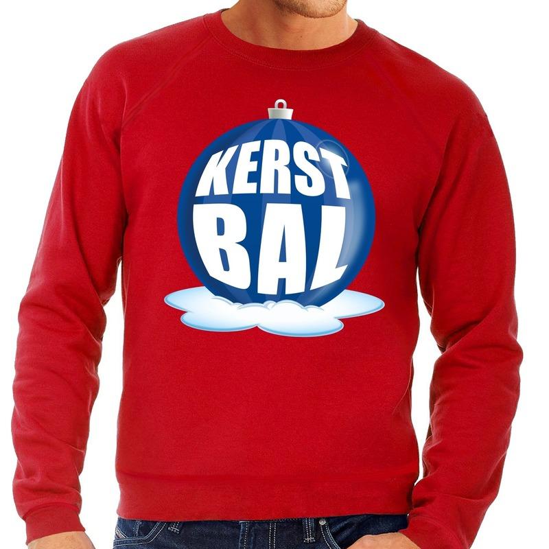 Foute feest kerst sweater met blauwe kerstbal op rode sweater voor heren 2XL (56) Rood