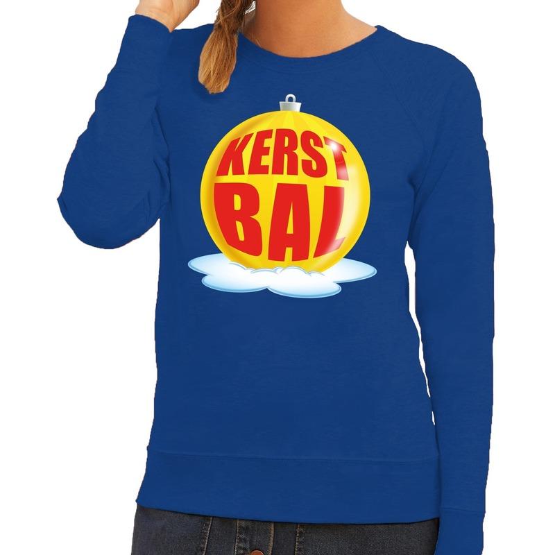 Foute feest kerst sweater met gele kerstbal op blauwe sweater voor dames S (36) Blauw