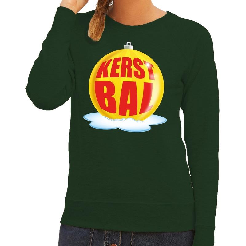 Foute feest kerst sweater met gele kerstbal op groene sweater voor dames XL (42) Groen